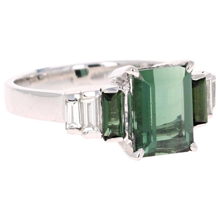 3.05 Carat Green Tourmaline Diamond 18 Karat White Gold Ring For Sale