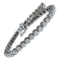 3.05 Carat Natural Diamonds Tennis Bracelet 14 Karat Gold Smooth Anti-Catch