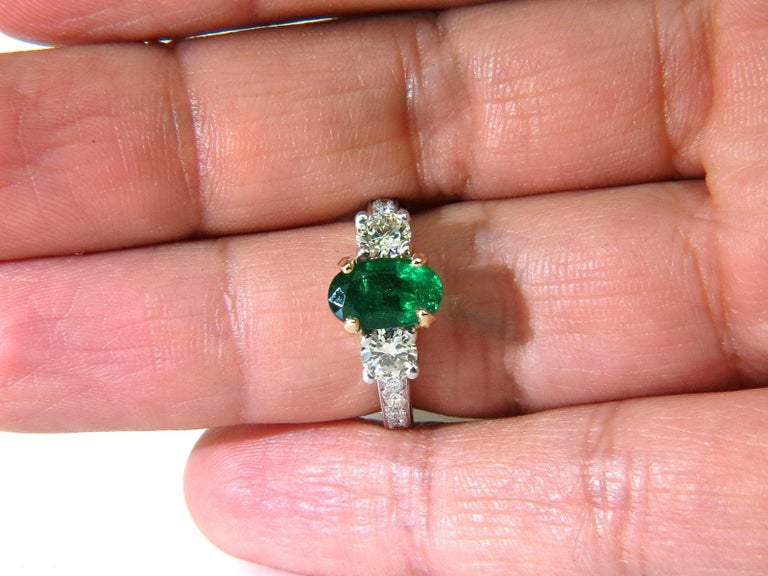 3 05 Carat Natural Emerald Diamond Ring Zambia A For Sale