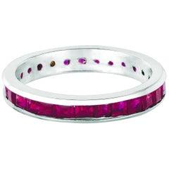 3.05 Carat Natural Princess Cut Ruby Eternity Band Ring 14 Karat White Gold