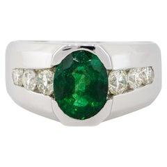 3.05 Carat Oval Emerald Center Wide Men's Ring with Diamonds 14 Karat in Stock