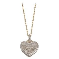 3.05 Carat Pave Set Love Heart Sterling Silver Pendant Chain Necklace Lustre