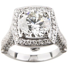 3.05 Carat Round Brilliant Diamond 14 Karat Gold Engagement Ring GIA Certified