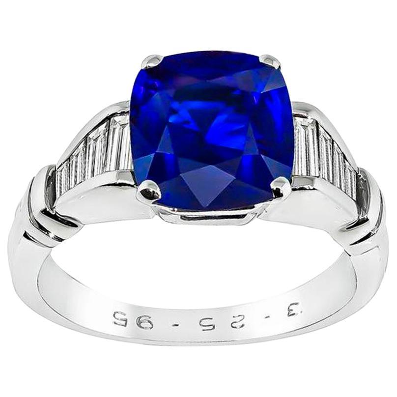 3.05 Carat Sapphire Diamond Engagement Ring