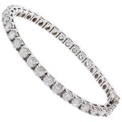 3.05 Carat Total Round Diamond 4 Prong Tennis Bracelet in 14 Karat White Gold