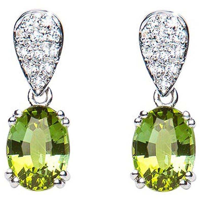 3.05 Carat Tourmaline Green Oval Diamond Pave Drop Earrings Natalie Barney