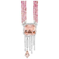 30.50 Carat Morganite 2.33 Carat Diamond Pink Tourmaline Beads Necklace