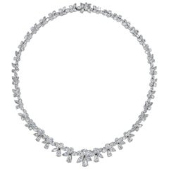 30.56 Carat Fancy Cut Diamond Necklace in White Gold