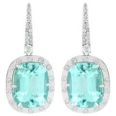 30.56 Carat Paraiba Tourmaline Diamond 18 Karat White Gold Earrings