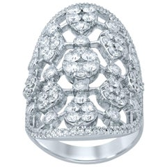 3.06 Carat Diamond 18 Karat White Gold Shield Ring