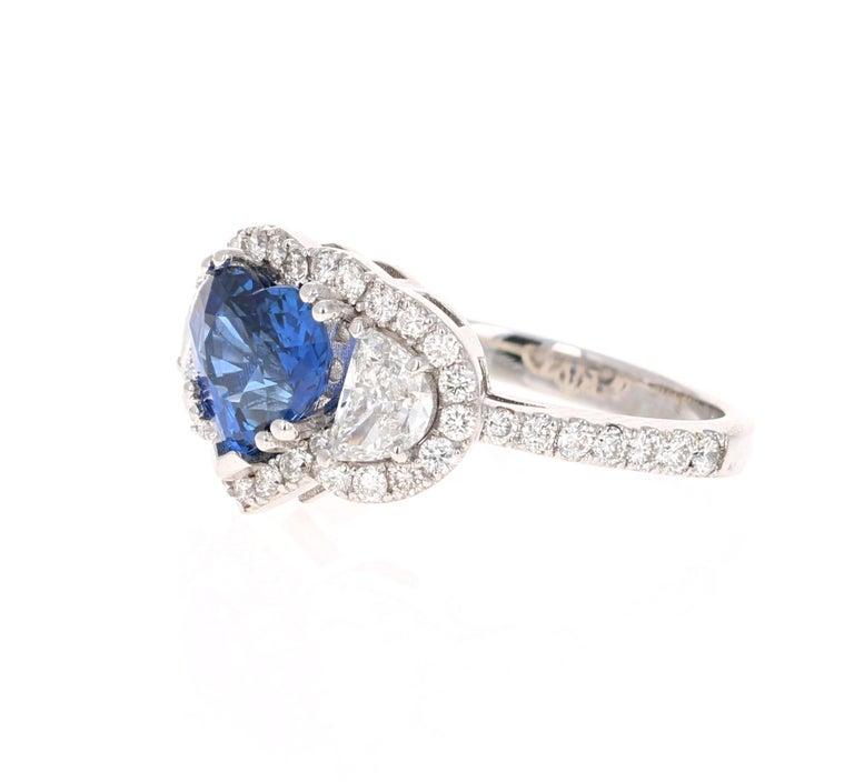 Modern 3.06 Carat GIA Certified Sapphire Diamond 18 Karat White Gold Ring For Sale