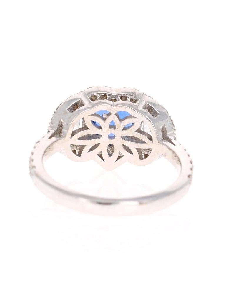 Round Cut 3.06 Carat GIA Certified Sapphire Diamond 18 Karat White Gold Ring For Sale