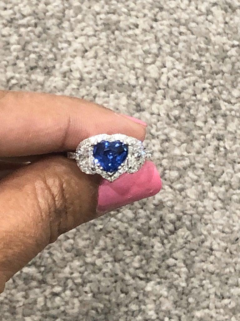 Women's 3.06 Carat GIA Certified Sapphire Diamond 18 Karat White Gold Ring For Sale