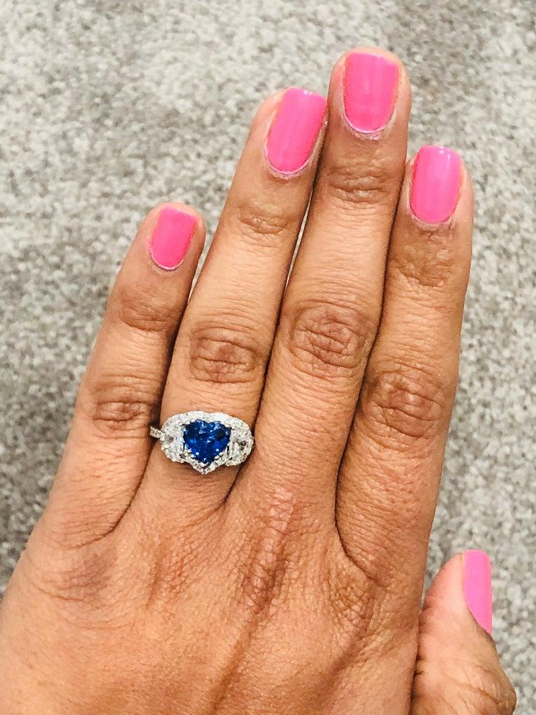 3.06 Carat GIA Certified Sapphire Diamond 18 Karat White Gold Ring For Sale 1
