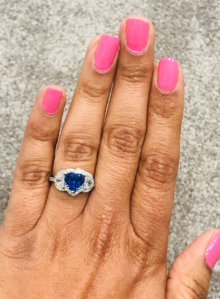 3.06 Carat GIA Certified Sapphire Diamond 18 Karat White Gold Ring For Sale 2
