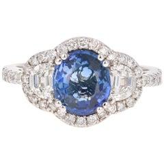 3.06 Carat GIA Certified Sapphire Diamond 18 Karat White Gold Ring