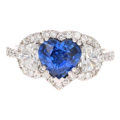 3.06 Carat GIA Certified Sapphire Diamond 18 Karat White Gold Ring