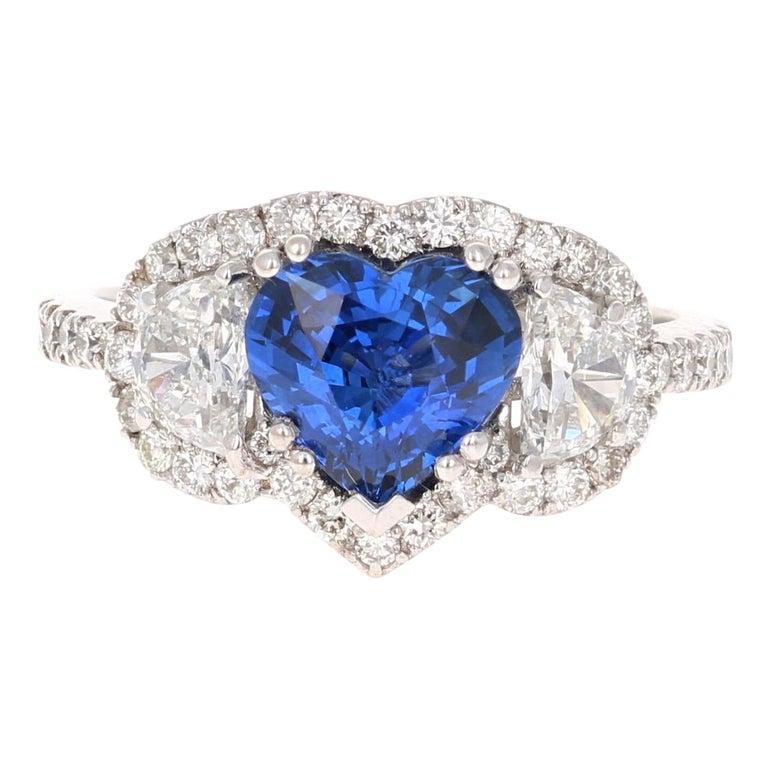 3.06 Carat GIA Certified Sapphire Diamond 18 Karat White Gold Ring For Sale