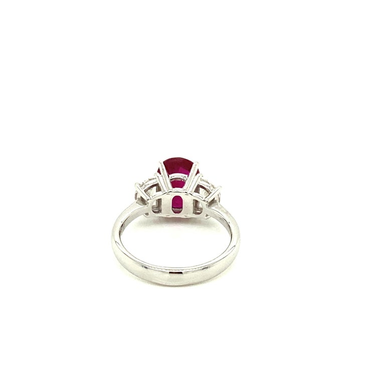 Oval Cut 3.06 Carat GRS Certified Pigeon's Blood Red Burmese Ruby and White Diamond Ring For Sale