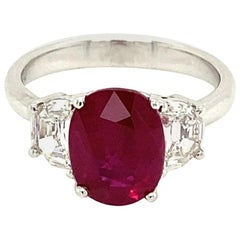 3.06 Carat GRS Certified Pigeon's Blood Red Burmese Ruby and White Diamond Ring