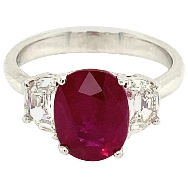 3.06 Carat GRS Certified Pigeon's Blood Red Burmese Ruby and White Diamond Ring For Sale