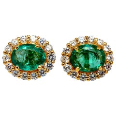 3.06 Carat Natural Oval Emerald Diamonds Cluster Stud Earrings 14 Karat