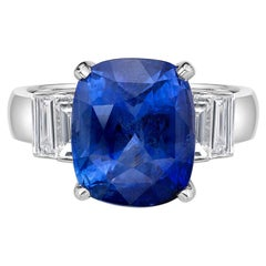 3.06 Carat Royal Blue Sapphire GRS Certified Non Heated Diamond Ring Cushion Cut