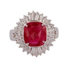 3.06 Carat Ruby & Diamond Ring Studded in 18K White Gold