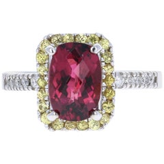 3.06 Carat Tourmaline Sapphire Diamond 14 Karat White Gold Cocktail Ring