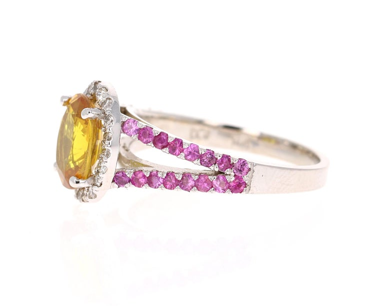 Modern 3.06 Carat Yellow Sapphire Pink Sapphire Diamond 14 Karat White Gold Ring For Sale