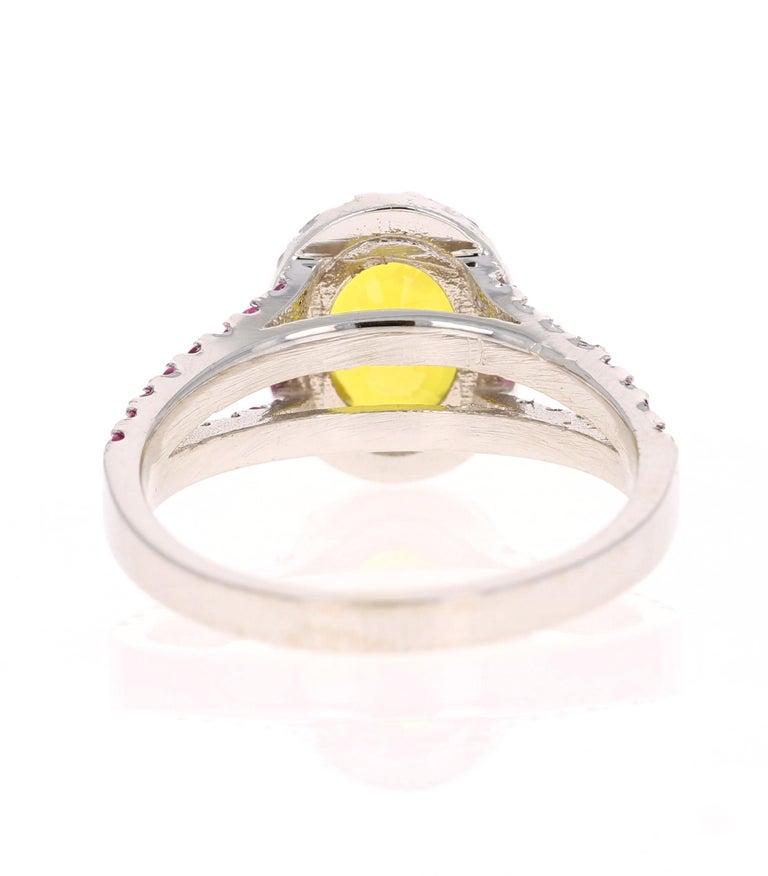 Oval Cut 3.06 Carat Yellow Sapphire Pink Sapphire Diamond 14 Karat White Gold Ring For Sale