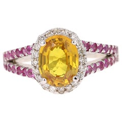 3.06 Carat Yellow Sapphire Pink Sapphire Diamond 14 Karat White Gold Ring