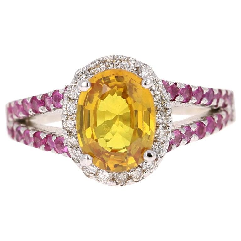 3.06 Carat Yellow Sapphire Pink Sapphire Diamond 14 Karat White Gold Ring For Sale