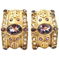 3.06 Carats Amethyst & White Topaz Sterling Silver & Gold Plate Huggie Earrings
