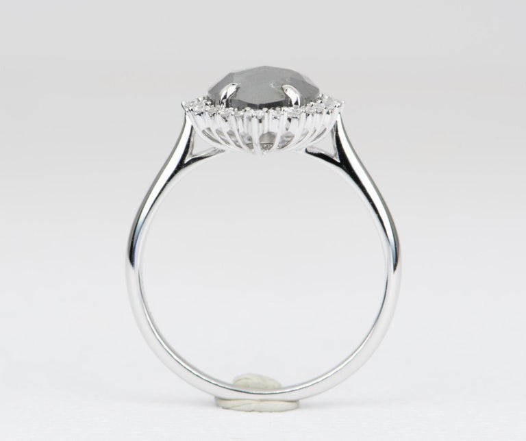 Women's or Men's 3.06 Salt and Pepper Marquise Diamond Halo Ring 14 Karat White Gold AD2269
