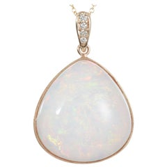 30.62 Carat Pear Shaped Opal White Diamond Drop Pendant 14 Karat Yellow Gold