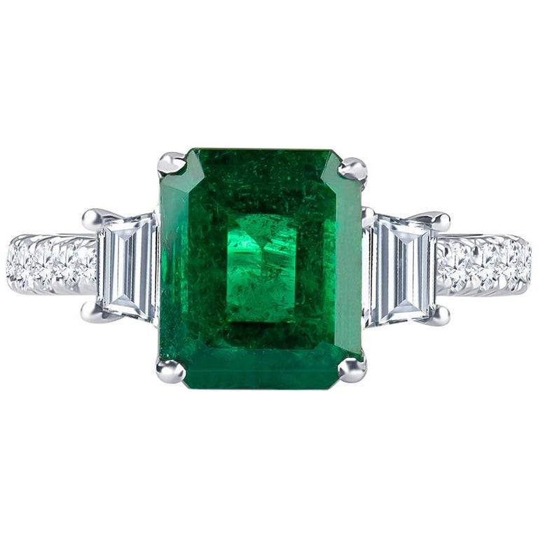 3.06Carat Emerald Ring (AGL) with 0.96 CTW of Trapezoid Step Cut Diamonds in 18K For Sale