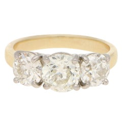 Three-Stone Old Cut Diamond Engagement Ring in 18k Yellow and White Gold