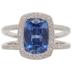 3.07 Carat Blue Ceylon Sapphire and Diamond Ring