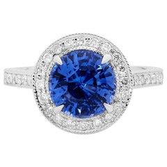 Saphir und Altschliff Diamant Hand gravierter Platin-Verlobungsring
