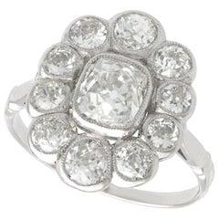 3.07 Carat Diamond and Platinum Cluster Ring