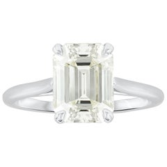 3.07 Carat Emerald Cut Diamond Solitaire Engagement Ring