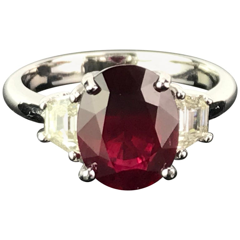 3.07 Carat Mozambique Ruby and Diamond Three-Stone Engagement Ring For Sale
