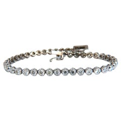 3.07 Carat Natural Round Diamonds Tubular Flush Link Tennis Bracelet 14kt
