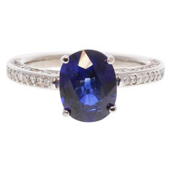 3.07 Carat Oval Blue Sapphire and Diamond Ring in 14 Karat White Gold