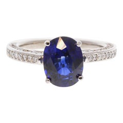 AGL Certified 3.07 Carat Oval Blue Sapphire & Diamond Ring in 14K White Gold
