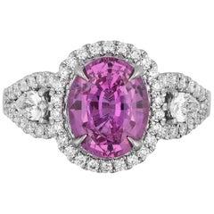3.07 Carat Pink Sapphire Diamond Cocktail Ring
