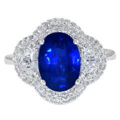 3.07 Carat Sapphire and Diamond White Gold Engagement Ring