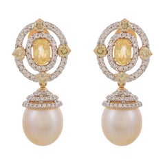 3.07 Carat Sapphire South Sea Pearl Diamond 18 Karat Yellow Gold Earrings