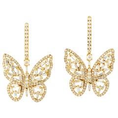 3.08 Carat Diamond 18 Karat Yellow Gold Butterfly Earrings